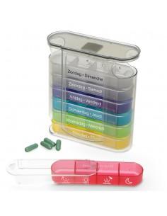 Pilulier 7 jours tiroirs couleur Fysic
