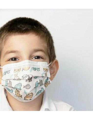 Masques chirurgicaux 3 plis Type IIR pour enfant - 50 pièces