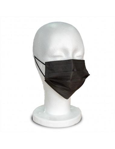 Masques chirurgicaux 3 plis Type IIR Noir - 50 pièces