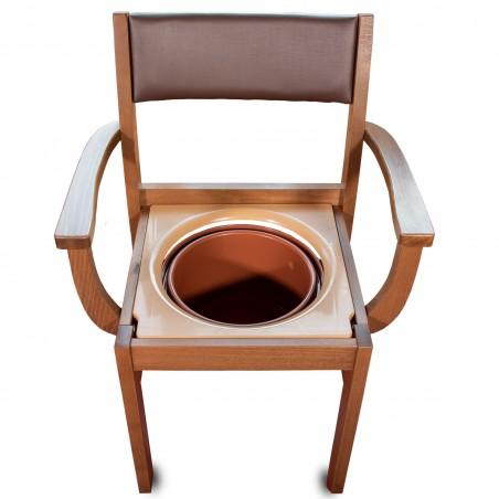 Chaise percée avec accoudoirs bois